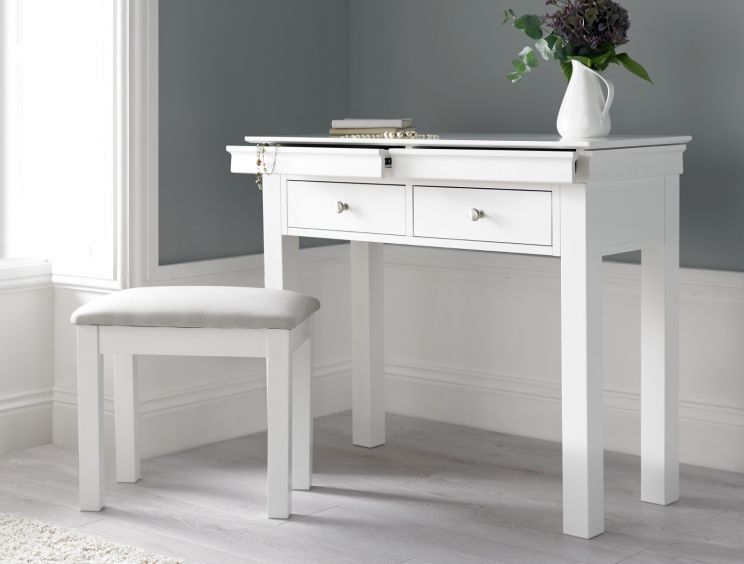 Chateaux White Dressing Table & Stool