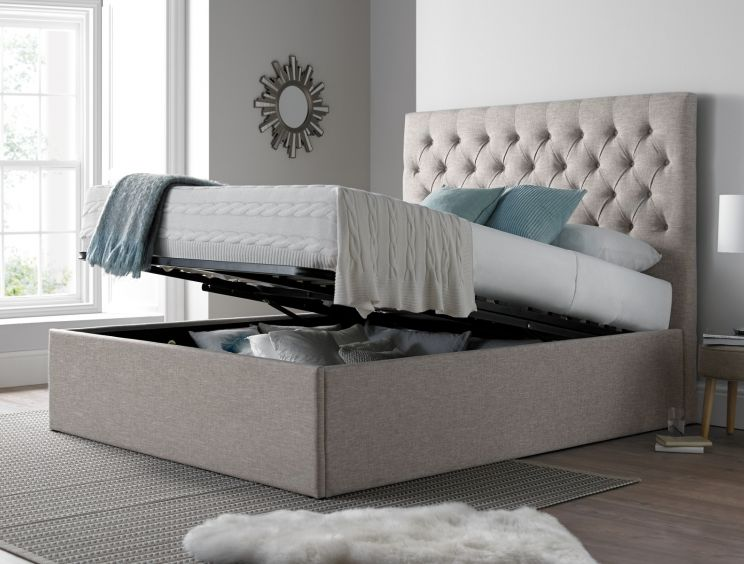 Maxi Driftwood Upholstered Ottoman Storage Bed Frame Only