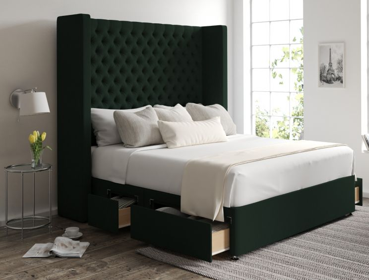 Emma Classic 4 Drw Continental Gatsby Forest Headboard and Base Only
