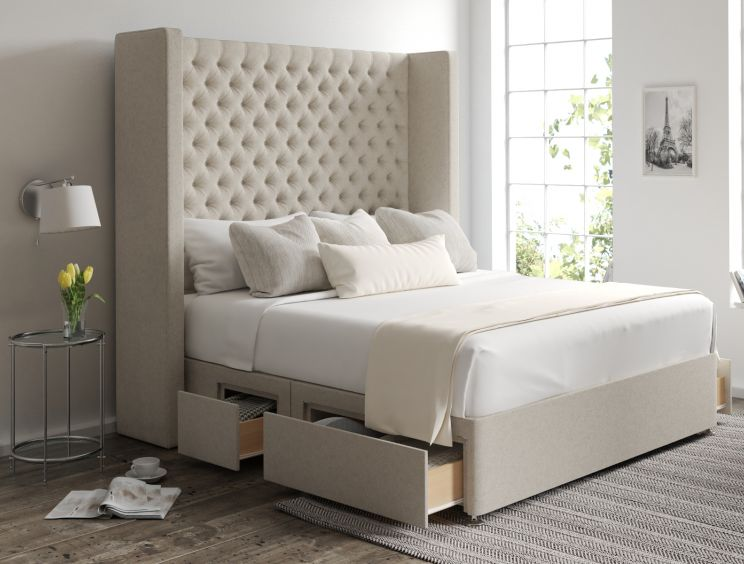 Emma Classic 4 Drw Continental Trebla Flax Headboard and Base Only