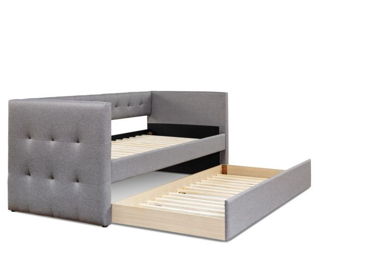 Esprit Fossil Grey Upholstered Day Bed Frame