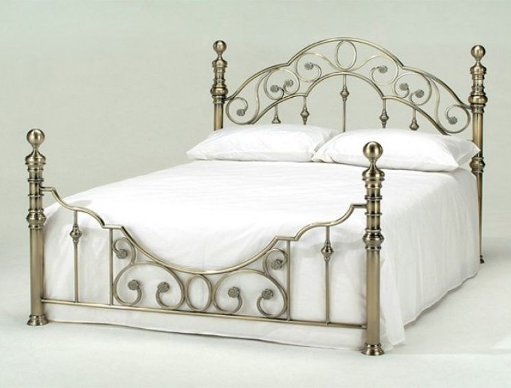 Harmony Florence Antique Brass Metal Bed Frame