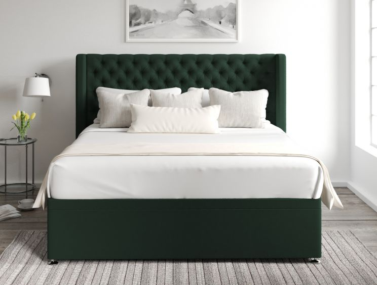 Bella Ottoman Gatsby Forest Headboard and Base Only