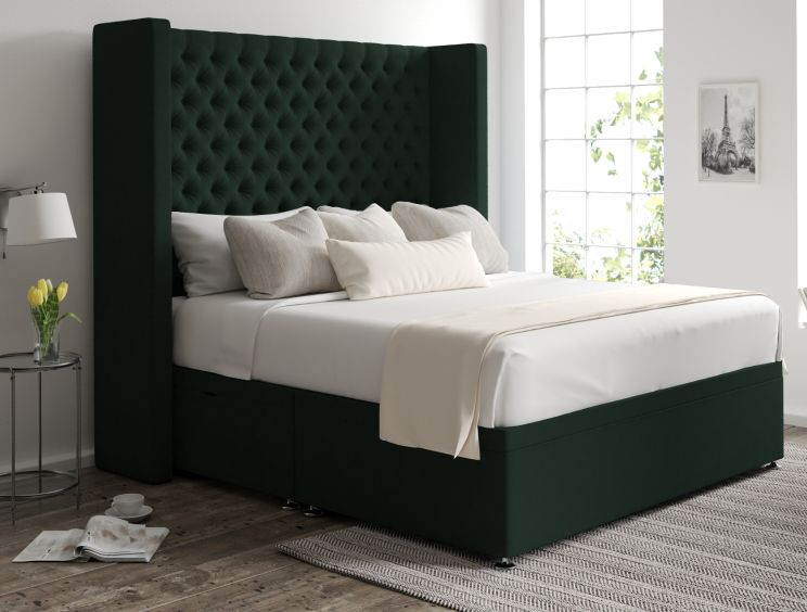 Emma Ottoman Gatsby Forest Headboard and Base Only