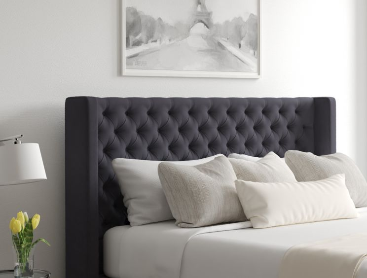 Bella Ottoman Gatsby Gun Metal Headboard and Base Only