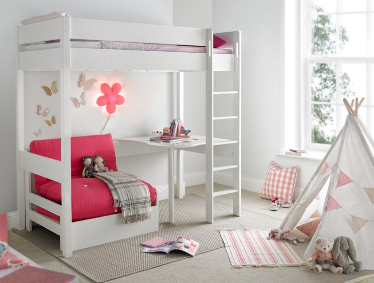 Modena High Sleeper Bed Frame with Desk & Pink Chair Bed