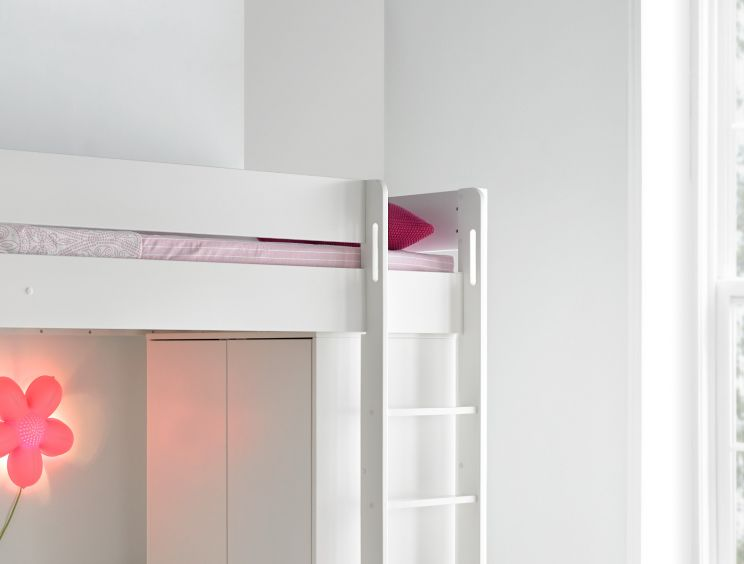 Modena High Sleeper Bed Frame with Compact Wardrobe & Pink Chair Bed