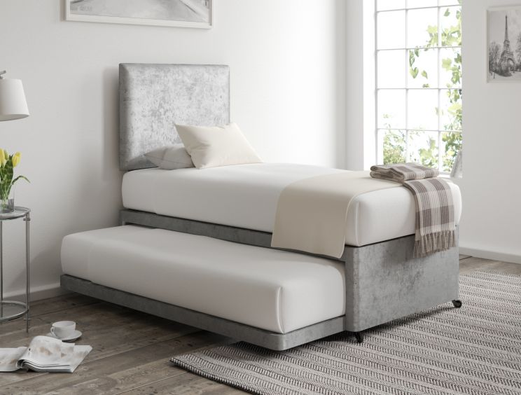 Cheltenham Glitz Silver Upholstered Guest Bed With Mattresses