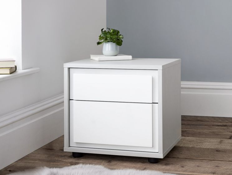 Lydia 2 Drawer Bedside - White
