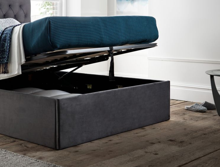 Maxi Charcoal Velvet Upholstered Ottoman Storage Bed Frame Only