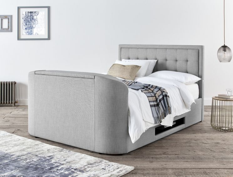 Carmel Mid Grey Upholstered Ottoman TV Bed Frame Only