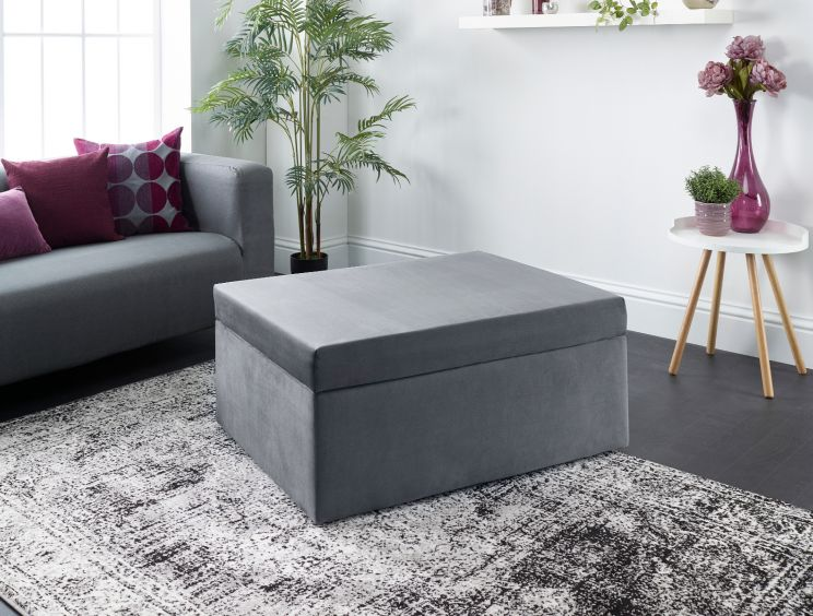 Footstool Pull Out Plush Velvet Grey Bed
