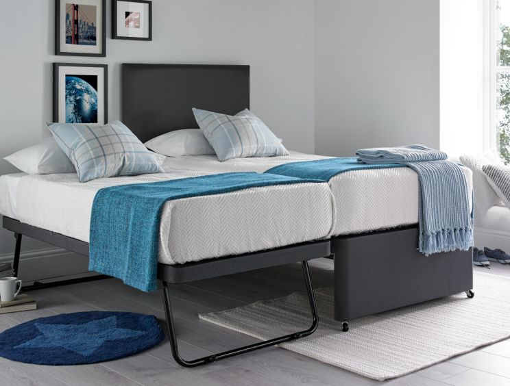 Cheltenham Deluxe Grey Upholstered Guest Bed With Mattresses