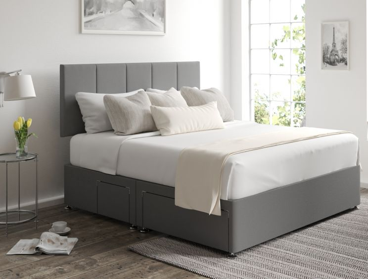 Hannah Classic 4 Drw Continental Chamonix Silver Headboard and Base Only