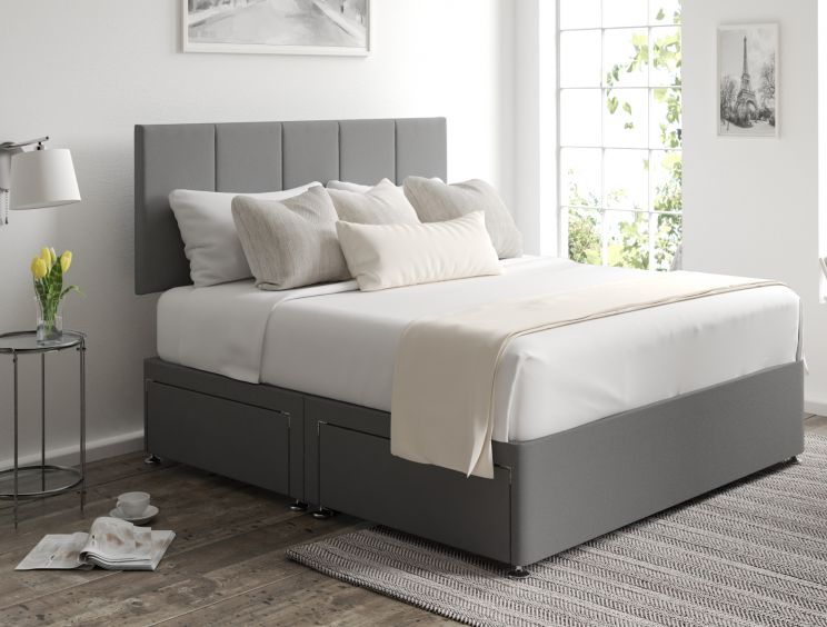 Hannah Classic 4 Drw Chamonix Silver Headboard and Base Only