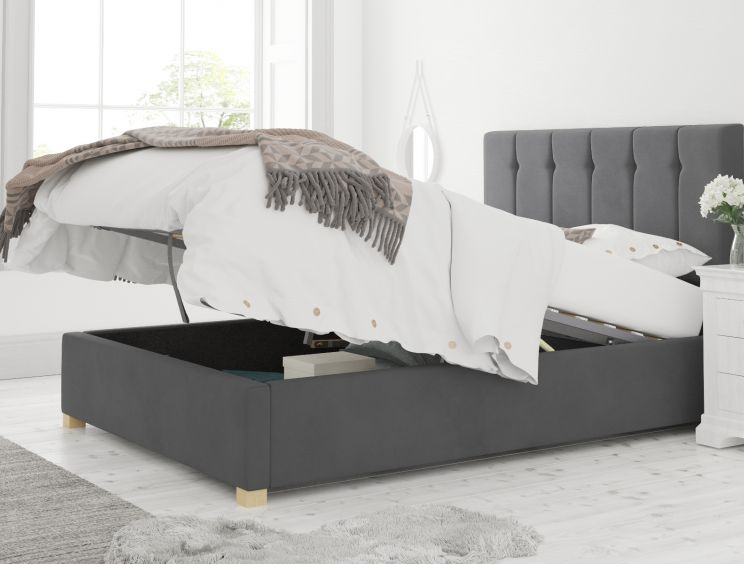 Hemsley Ottoman Plush Velvet Steel Bed Frame Only