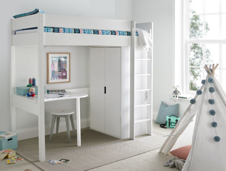 Modena High Sleeper Bed Frame with Desk & Compact Wardrobe
