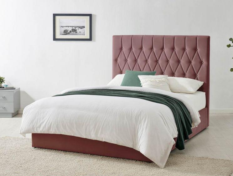 Waldorf Pink Velvet Upholstered Ottoman, Pink Upholstered Bed Frame