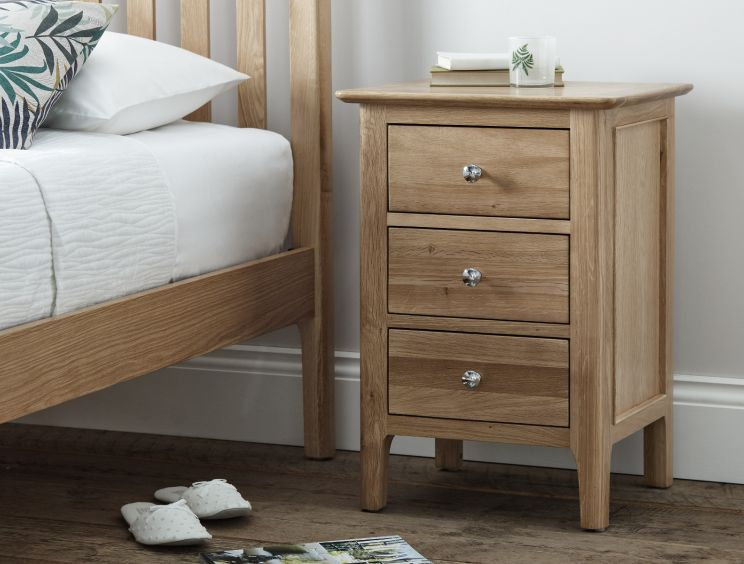 Newport Large Oak 3 Drw Bedside