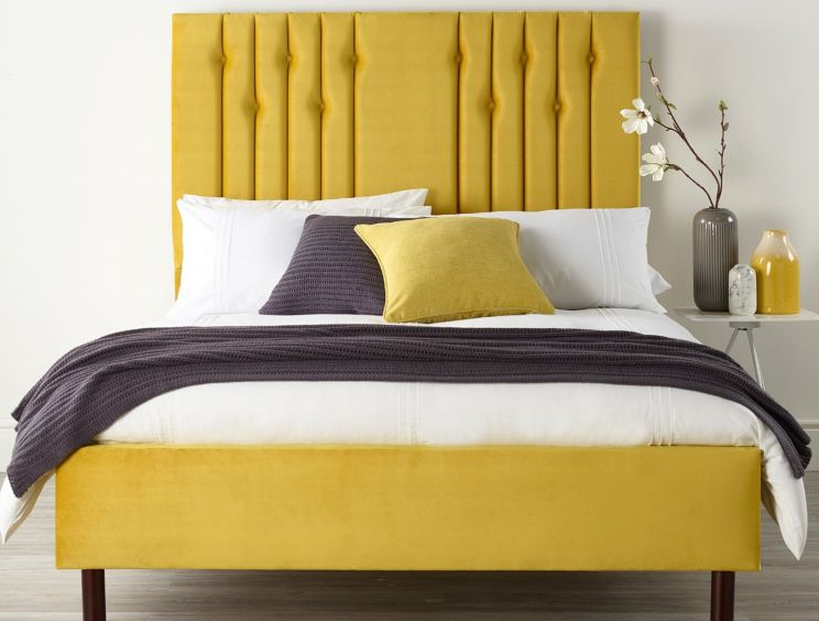 Catherine Lansfield Lemonwood Upholstered Bed Frame Only