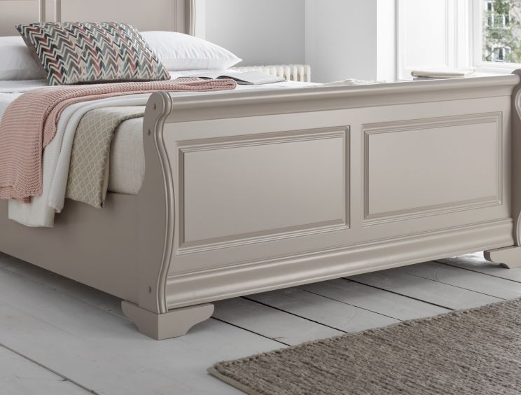 Louie Wooden Sleigh Bed - Pebble