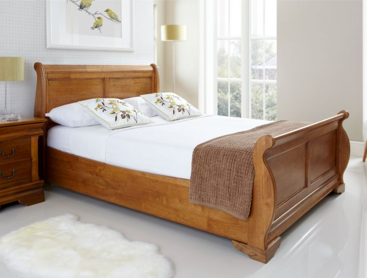 Louie Wooden Sleigh Bed Oak Finish Time4sleep