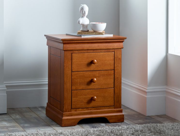 Louie Dark 3 Drawer Bedside
