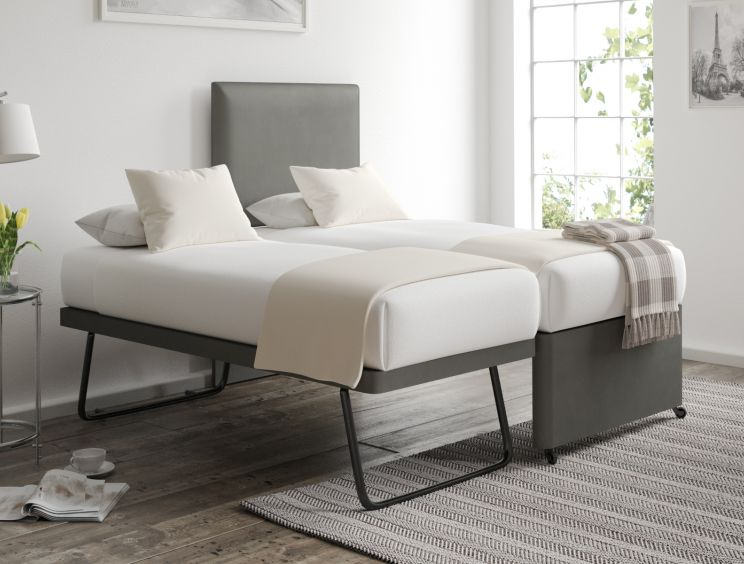 Cheltenham Malia Slate Upholstered Guest Bed With Mattresses