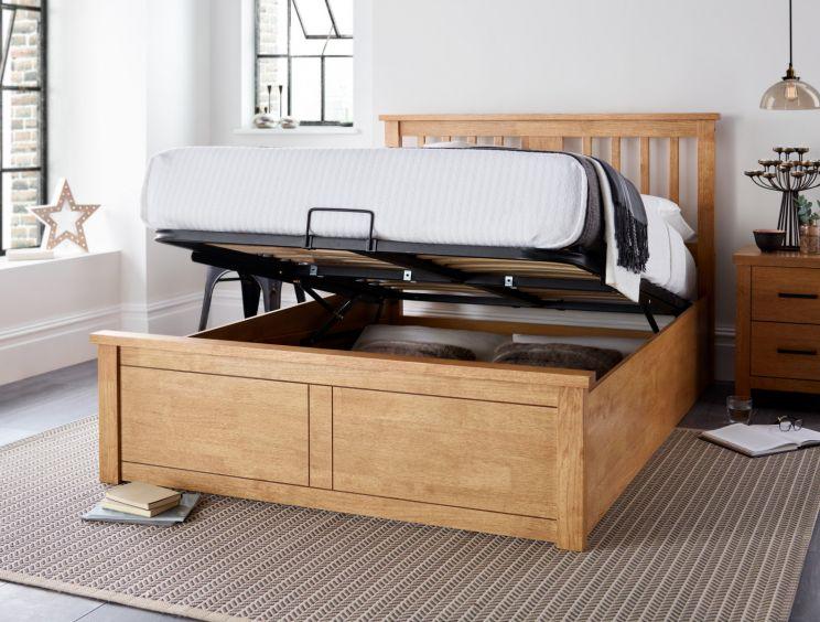 competitive price cce3a b9e7f Malmo New Oak Finish Wooden Ottoman Storage Bed