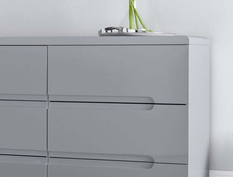 Manilla Grey 6 Drawer Wide Chest
