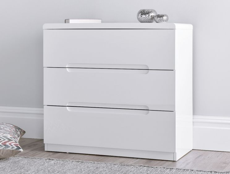 Manilla White 3 Drawer Chest