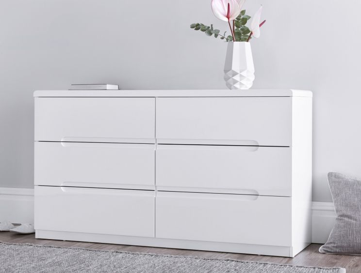 Manilla White 6 Drawer Wide Chest