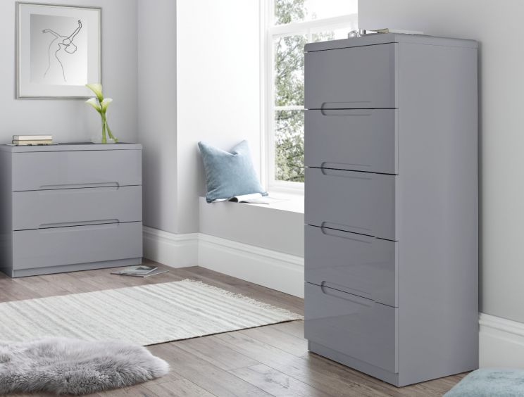Manilla Grey 5 Drawer Tallboy