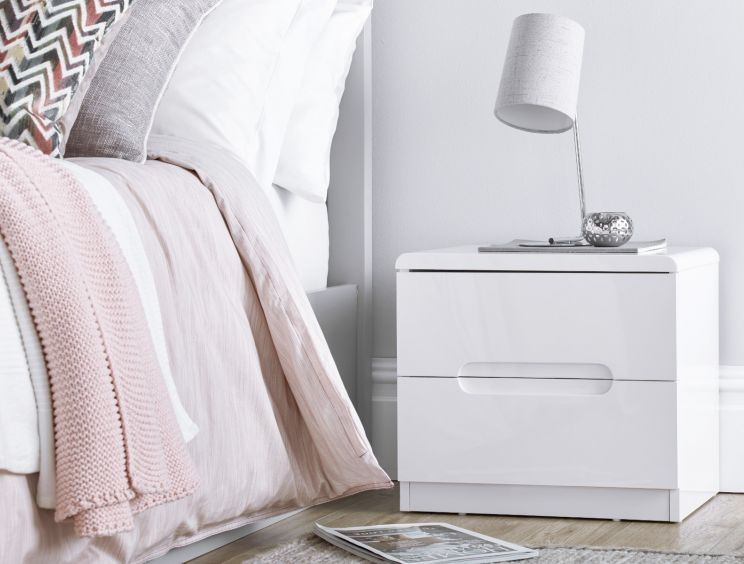 Manilla White 2 Drawer Bedside Table