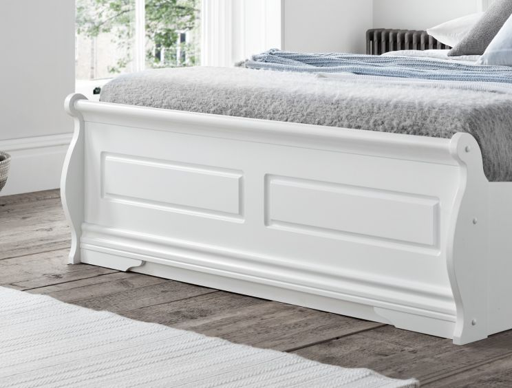 Marseille White Wooden Ottoman Storage King Size Bed Frame Only