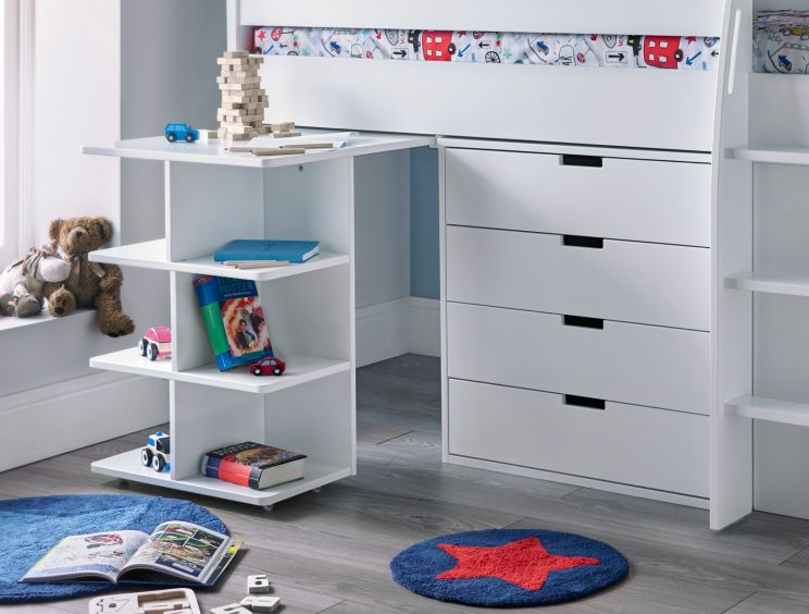 Montana Mid Sleeper With desk, 4 Drawer Chest and 2 Door Quad Unit