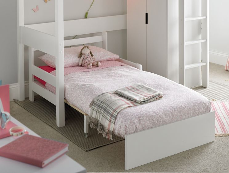 Modena White Chair Bed Including Pink Futon Mattress