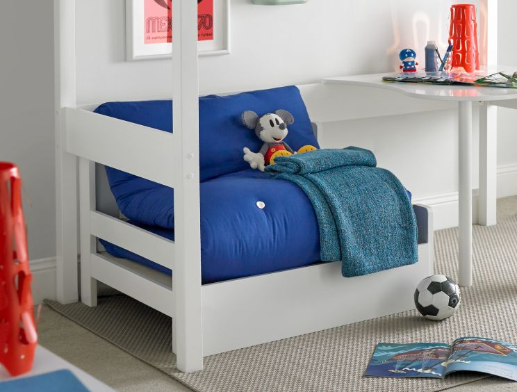 Modena White Chair Bed Including Blue Futon Mattress