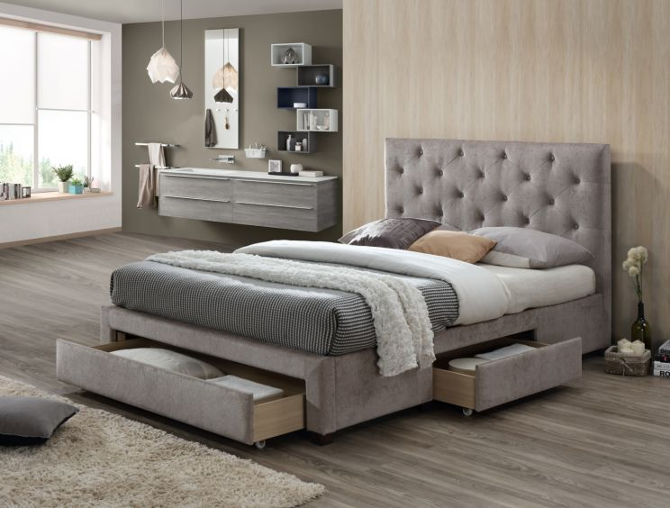 Sophia Upholstered 3 Drawer Storage Bed - Mink