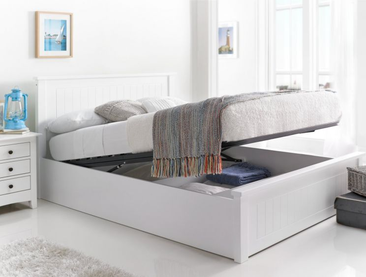 New England White Wooden Ottoman Storage Bed
