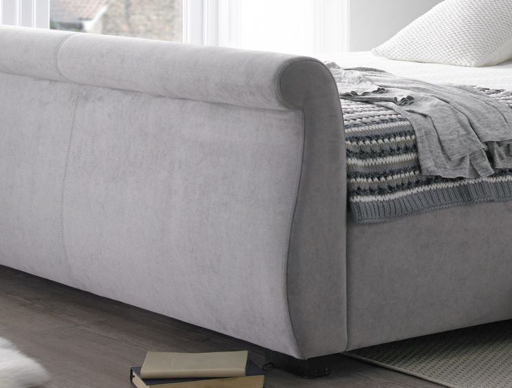 Olivia Upholstered Sleigh Bed - Steel Grey