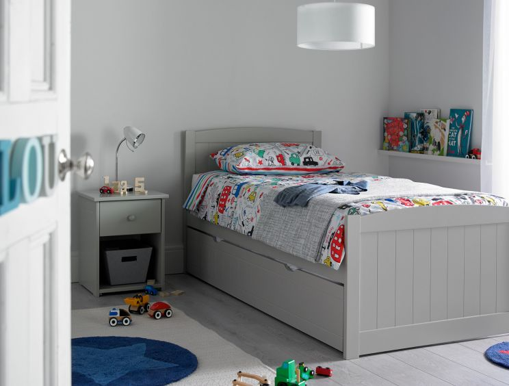Portland Grey Bed Frame With Liv & Lou Guest Underbed