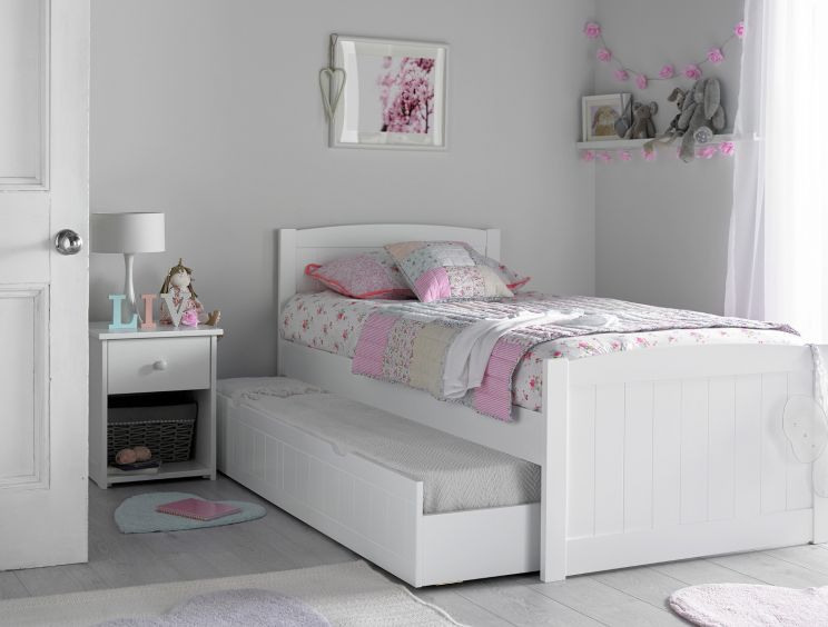 Portland White Bed Frame With Liv & Lou Guest Underbed