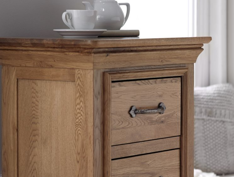 French Style Versaille Rustic Oak 2 Drawer Bedside