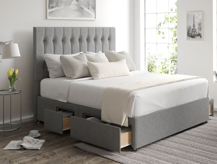 Rylee Classic 4 Drw Continental Arran Pebble Headboard and Base Only