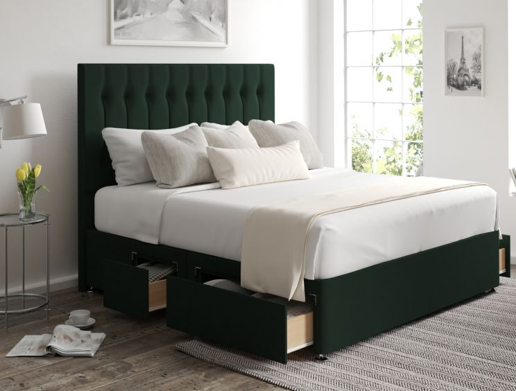 Rylee Classic 4 Drw Continental Gatsby Forest Headboard and Base Only