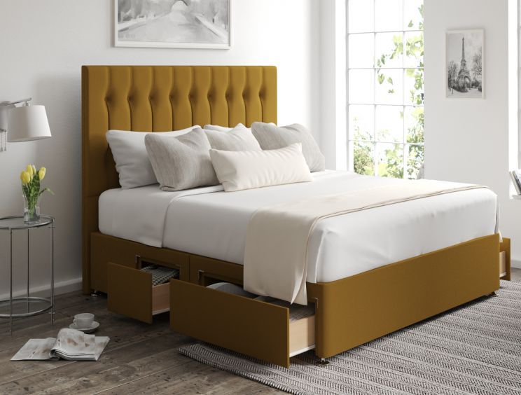 Rylee Classic 4 Drw Continental Gatsby Ochre Headboard and Base Only