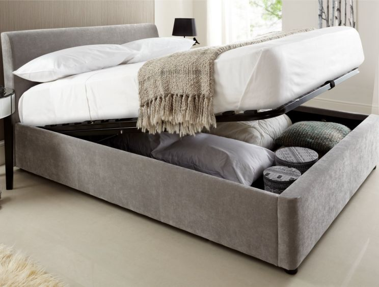 Serenity Upholstered Ottoman Storage Bed - Steel Grey