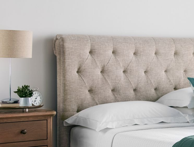 Valencia Upholstered Sleigh Bed - DriftWood