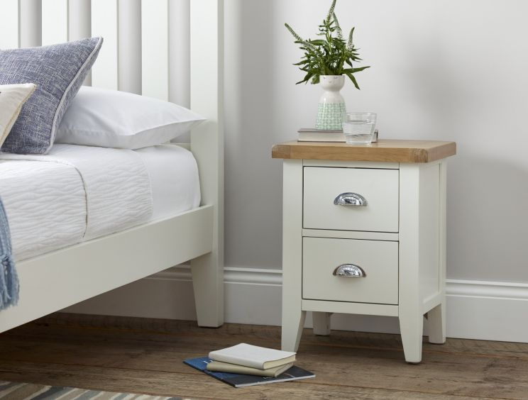 Tiverton White 2 Drw Bedside